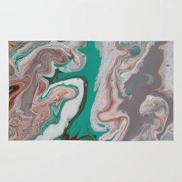 Aqua Fluid Acrylic Pour Painting Rug