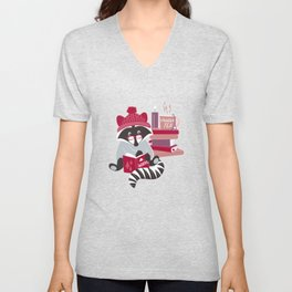 Hygge raccoon // white background Unisex V-Neck