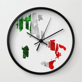 Italia Typographic Flag Map Art Wall Clock