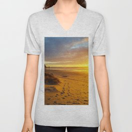Cannon Beach Oregon at Sunset Haystack Rock Unisex V-Neck