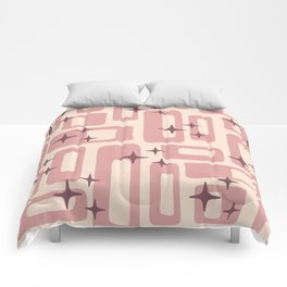 Retro Mid Century Modern Abstract Pattern 577 Dusty Rose Comforters