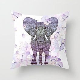 FLOWER SHOWER ELEPHANT Throw Pillow