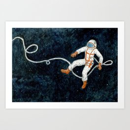 Astronaut Floating Through Space Art Print