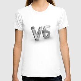 metal 3D V6 icon for six cylinders strong car engine T-shirt