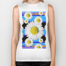 Blue Shasta Daisy's Black Color Art Biker Tank