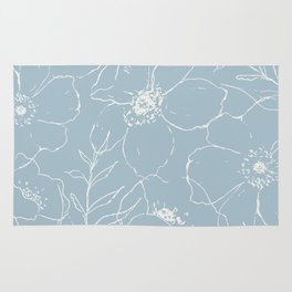 Floral Simplicity - Blue Rug