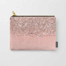 Girly Rose Gold Confetti Pink Gradient Ombre Carry-All Pouch