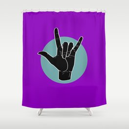ILY - I Love You - Sign Language - Black on Green Blue 05 Shower Curtain