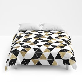 Modern Black, White, and Faux Gold Triangles Comforters