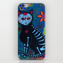 Mexican Day of the Dead El gato Cat Calavera Painting iPhone Skin