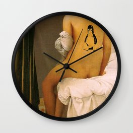Master piece with Linux Tux tatoo Wall Clock