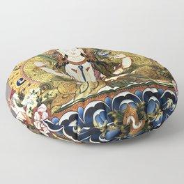 Chenrezig Avalokitesvara Bodhisattva Tibetan Buddhist Gray Floor Pillow