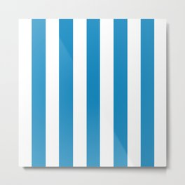 Cyan cornflower blue - solid color - white vertical lines pattern Metal Print