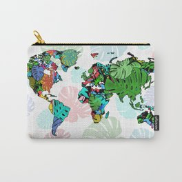 world map tropical leaves 2 Carry-All Pouch