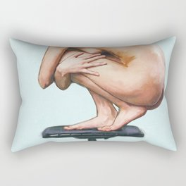 Perched Nude Woman Painting Rectangular Pillow