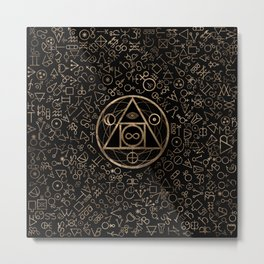 Philosopher's stone symbol and Alchemical  pattern #2 Metal Print