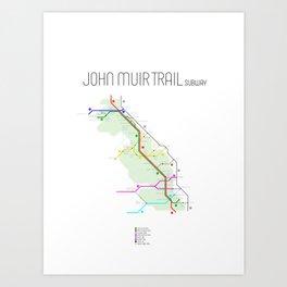 John Muir Trail Subway Map Art Print
