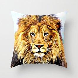 Lion head digital art Throw Pillow