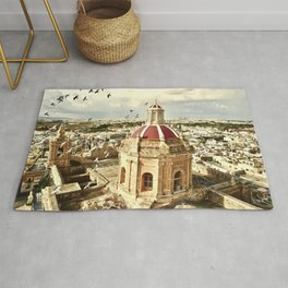 An aerial shot of the Parish Church of Saint Catherine, Zejtun Malta Rug