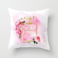 Perfume inspired No 5 fashion illustration watercolor in Pink with Peonies. Throw Pillow