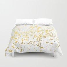 Splat White Gold Duvet Cover
