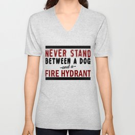 Dog And A Fire Hydrant Unisex V-Neck