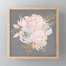 Night Rose Garden Gray Framed Mini Art Print