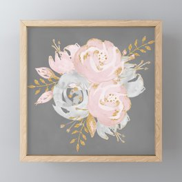 Night Rose Garden Gray Framed Mini Art Print