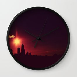 Skyline silhouette of Chicago Wall Clock