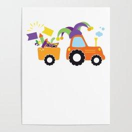 Tractor Jester Hat Mardi Gras Fleur De Lis Masks Poster