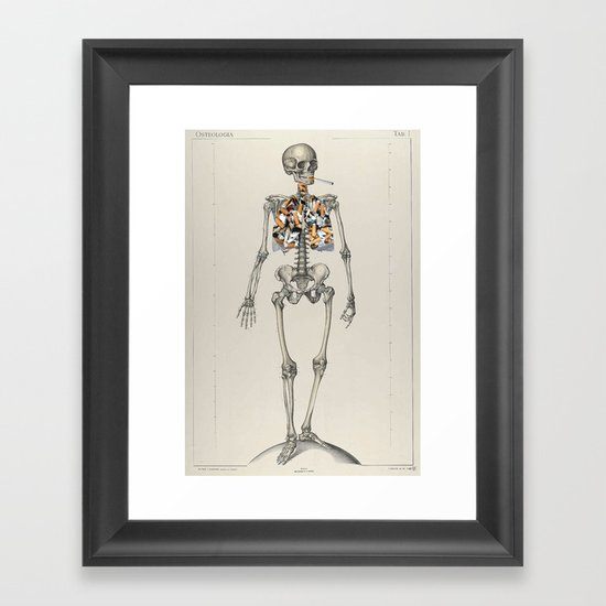 Skeletons Smoking Framed Art Print