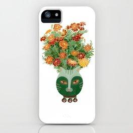 Marigolds in cat face vase  iPhone Case