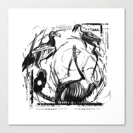 vultures and dog Canvas Print