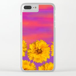 Yellow Floral Sunset Clear iPhone Case