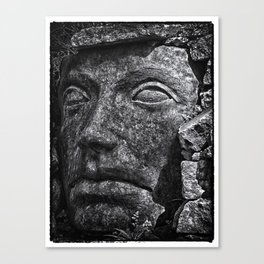 Stone Idol in Black and White Canvas Print