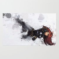 black widow Area & Throw Rugs featuring Black Widow by Isaak_Rodriguez