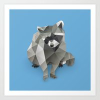 racoon Art Prints featuring Racoon. by Diana D'Achille