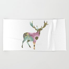 Floral Deer 01 Beach Towel