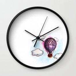 Purple hot air balloon  Wall Clock