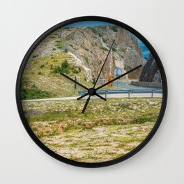 Landscape with mountain and road in Krk island, Croatia Wall Clock