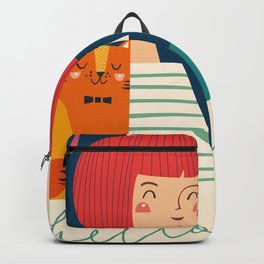 Girl with Cat Backpack