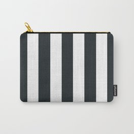 Dark gunmetal blue - solid color - white vertical lines pattern Carry-All Pouch