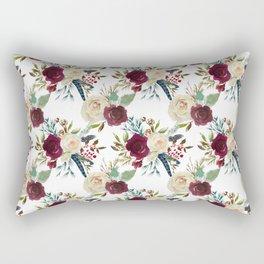 Burgundy ivory green watercolor boho floral pattern Rectangular Pillow