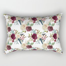 Burgundy ivory green watercolor boho floral pattern Rectangular Pillow