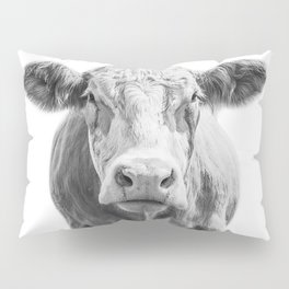 Highland Cow Portrait | Animal Photography | Black and White | Art Print Minimalism | Farm Animal Pillow Sham