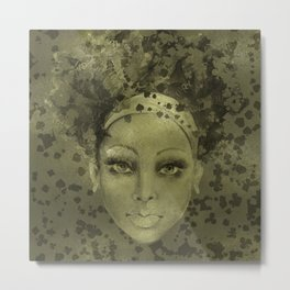 Abstract  Female Face with  card suits Metal Print