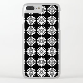 Black And White Flowery Daisy Pattern Clear iPhone Case