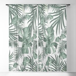 Tropical Jungle Leaves Pattern #4 (2020 Edition) #tropical #decor #art #society6 Sheer Curtain