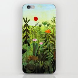"Henri Rousseau ""Exotic Landscape with Lion and Lioness in Africa"", 1903-1910 iPhone Skin"
