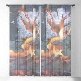 black white and flame Sheer Curtain